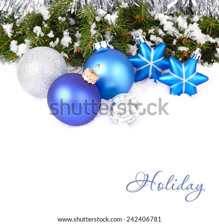 Christmas background with blue and silvery