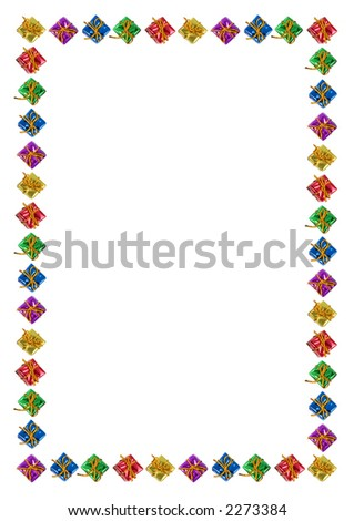 Christmas background with border of colorful gifts. A4 - stock photo