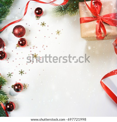 Christmas background with branch and ornaments #697721998