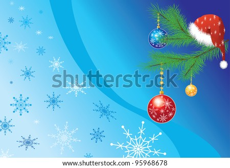 Christmas Background with cap of Santa Claus