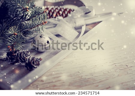 Christmas background with christmas decorations and candles toned pictures