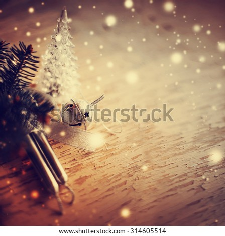 Christmas background with christmas decorations and candles / toned pictures #314605514
