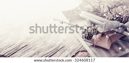 Christmas background with christmas decorations and gift / toned pictures #324608117