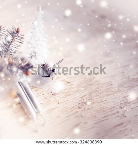 Christmas background with christmas decorations and gift / toned pictures #324608390
