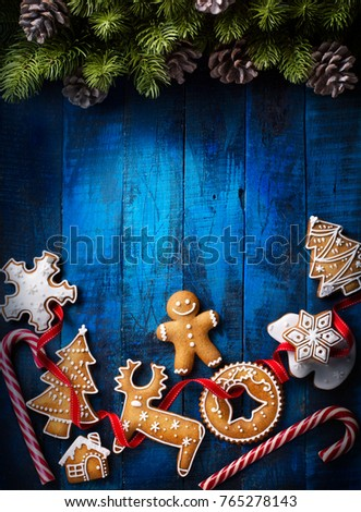 Christmas background with Christmas gingerbread and Christmas Candy Canes #765278143
