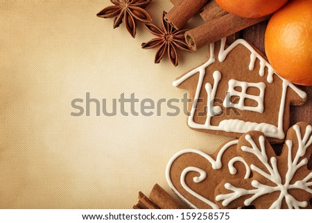 Christmas background with christmas gingerbread cookies