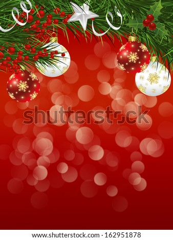 Christmas background with Christmas tree branches and decorations #162951878