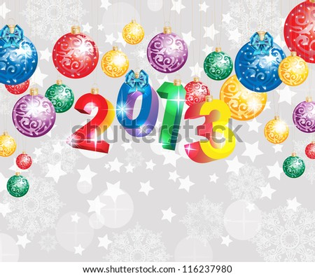 Christmas background with colorful decoration balls and snowflakes, illustration