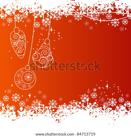 Christmas background with contour balls. Raster version..Raster version.