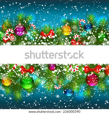 Christmas Background With Decorated Branches Of Christmas Tree Stock