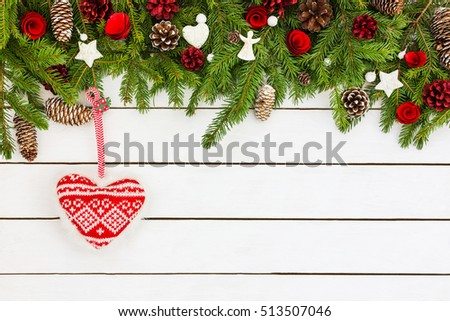 Christmas background with decoration and Christmas heart. Top view, copy space #513507046