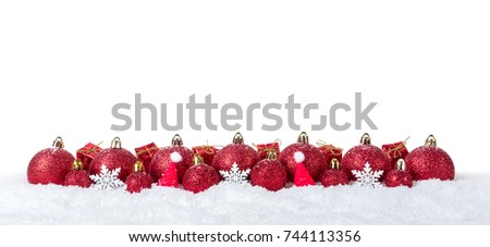 Christmas background with decorations and christmas balls on snow isolated on white background. #744113356