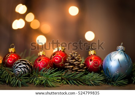 Christmas background with decorations on wooden board #524799835