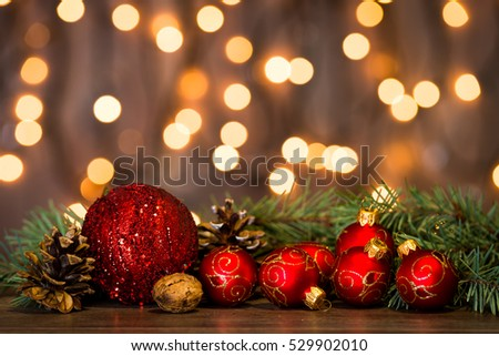Christmas background with decorations on wooden board #529902010