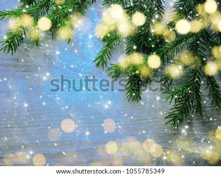 christmas background with fir branches frame and copy space #1055785349