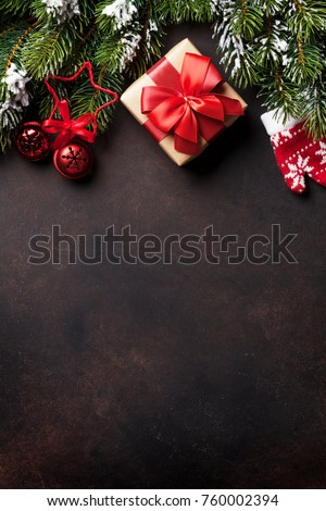 Christmas background with fir tree and decor. Top view with copy space #760002394