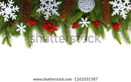 Christmas background with fir tree and decoration on white #1261031587