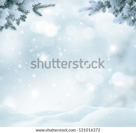 Christmas background with fir tree branch.Merry Christmas and happy New Year greeting card with copy-space.Winter landscape with snow 