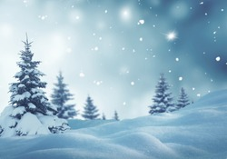 Christmas background with fir trees and blurred bokeh.Winter landscape