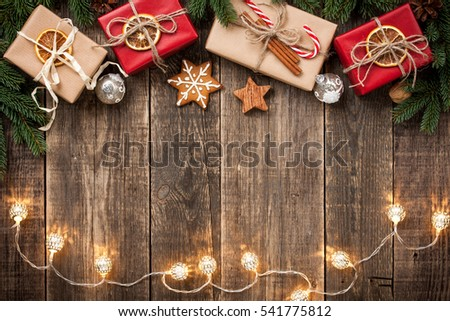 Christmas background with gift boxes #541775812