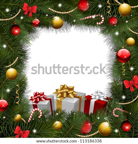 Christmas background with gifts and christmas tree