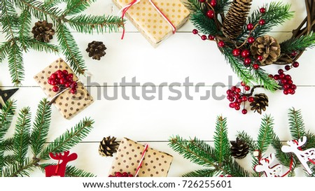 christmas background with gifts and decor on a white wooden background. Flat lay, Top view, Copyspace #726255601