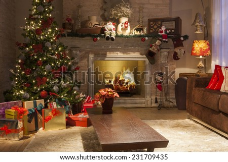 Christmas Background with gifts, lights, fire and decoration #231709435