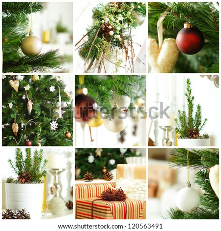 Christmas background with gold decoration, gift and green Xmas tree
