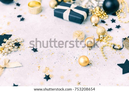 Christmas background with gold decorations  with copy space Zdjęcia stock ©