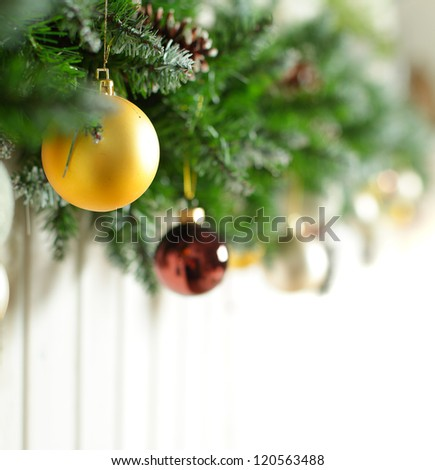 Christmas background with gold Xmas decoration on white
