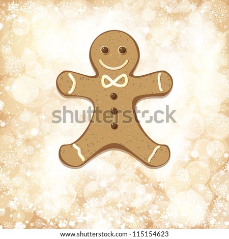 Christmas background with golden lights and gingerbread man.