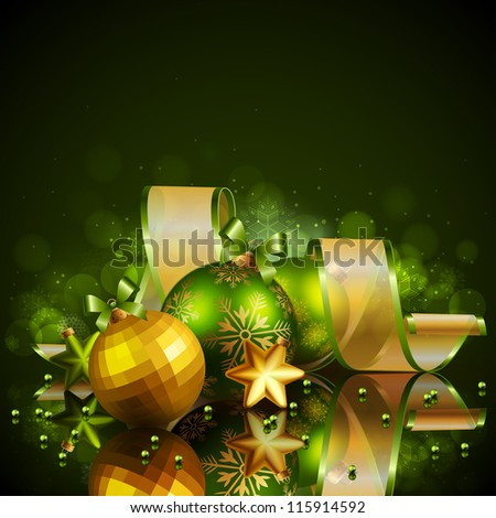 Christmas background with green and golden balls. Check my portfolio for vector version.