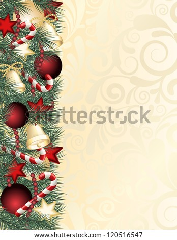 Christmas background with green branches.