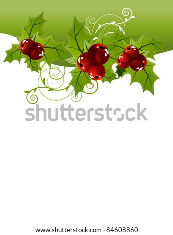 Christmas background with holly. Raster version.