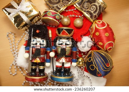 christmas background  with nutcrackers and ornaments  #236260207