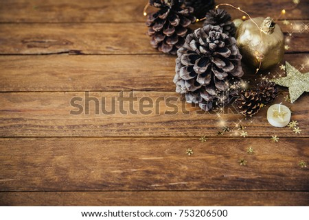 Christmas background with pine cones #753206500