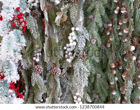 Christmas background with pine cones, acorns, twigs and snow