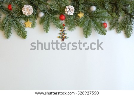 Christmas background with pine tree branches