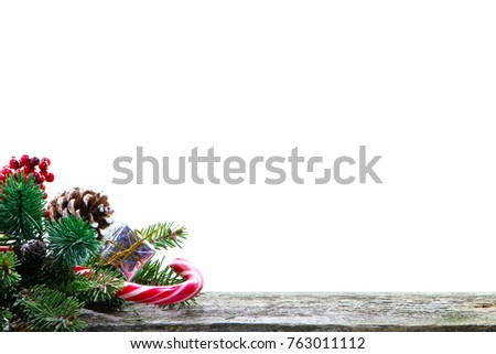 Christmas background with place for your text, photos. Layout for your work, New Year's style, white background, accessories with holly berry elements. #763011112