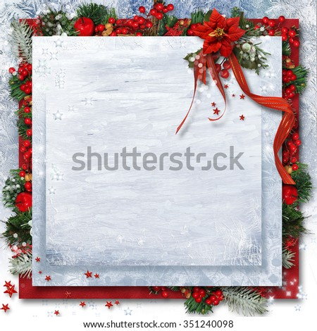 Christmas background with poinsettia, holly and branches.Greetin