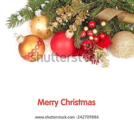 Christmas background with red and golden Christmas balls on branches of a Christmas tree. #242709886