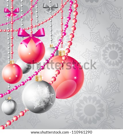 christmas background with red balls and beads