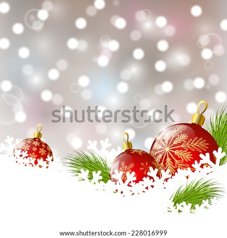 Christmas background with red balls on the snow #228016999