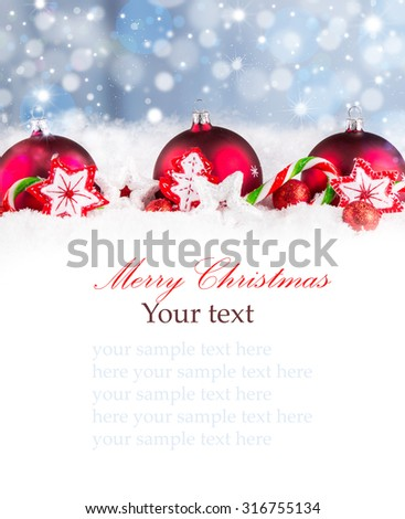 Christmas background with red baubles,snow and snowflakes, free space for text. Christmas decoration.  #316755134