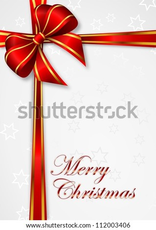 christmas background with red ribbon with golden stripes  and  gray stars - bitmap  illustration