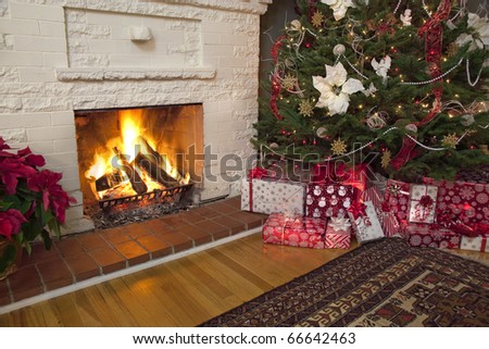 Christmas background with red tree and fireplace