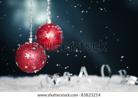 christmas background with red twinkling christmas balls