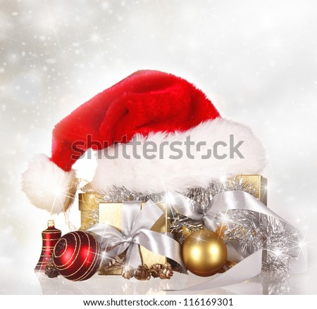 Christmas background  with Santa cap