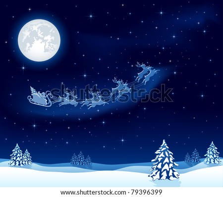 Christmas background with Santa's sleigh, illustration