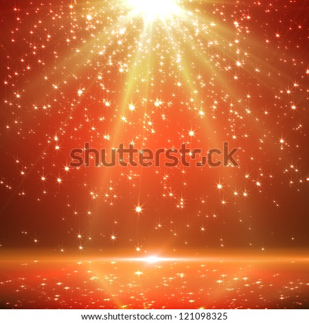 christmas background with shining stars and rays